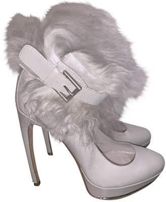 Alexander McQueen Grey Leather Heels
