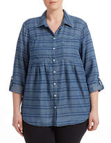 Style And Co. Plus Striped Denim Shirt