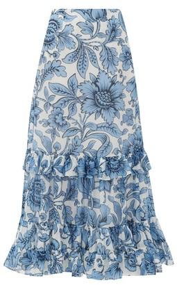 Erdem Danna Modotti Wallpaper Cotton-blend Skirt - Womens - Blue White