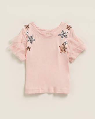 Baby Sara Infant Girls) Sequin Star Mesh Ruffle Tee