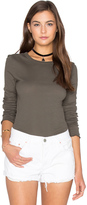 Enza Costa Cotton Slub Rib Fitted Long Sleeve Crew Neck Tee