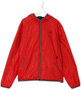 Fay Kids - striped trim hooded jacket - kids - Polyamide - 14 yrs