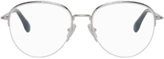 Victoria Beckham Silver Round Half-Rim Glasses
