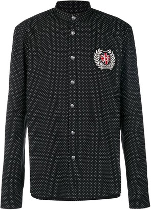 Balmain logo patch polka-dot shirt