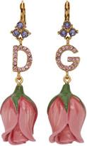 Dolce & Gabbana Pink Logo Rose Bud Earrings