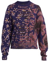 Rag & Bone Almo Floral Knit Merino Wool Blend Sweater