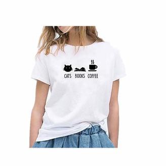TWIFER Women Girls Plus Size Cat Print Tees Shirt Short Sleeve T Shirt Blouse Tops Print O Neck Top Ladies Daily Blouse Tunic Tee Oversized(XS-4XL)(White UK-14/CN-L)