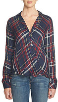 1 STATE Drape Front V-Neck Plaid Tunic