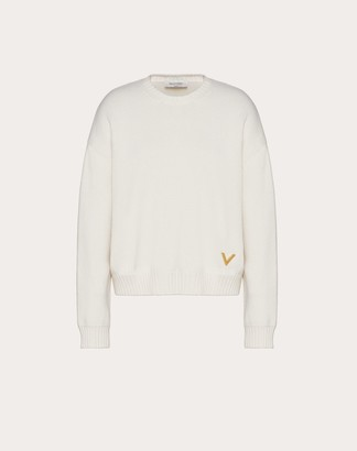 Valentino Cashmere Jumper With Gold V Detail Women Ivory L