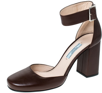 Prada Brown Leather Block Heel Ankle Strap Sandals Size 37.5