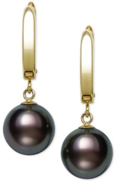 Belle de Mer Cultured Tahitian Pearl (10-11mm) Drop Earrings in 14k Gold