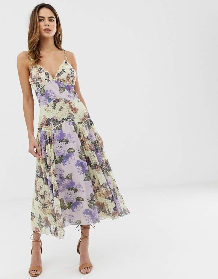 329b81bd430 Design DESIGN cami midi dress in mixed floral with pleat and lace trim