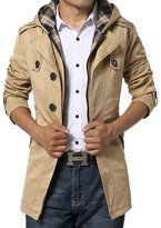 Zicac Men's Thicken Md-long Slim Fit Trench Coat Jacket with Hood