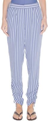 Tibi Stripe Viscose Twill Shirred Pant