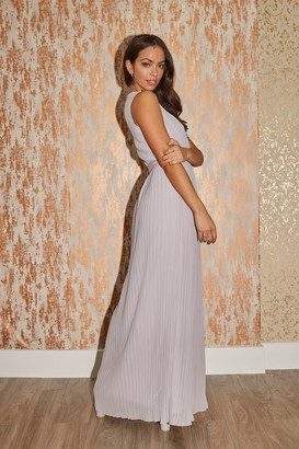 Little Mistress Bridesmaid Kellie Grey Plunge Pleated Maxi Dress
