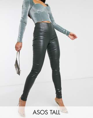 Asos Tall DESIGN Tall Rivington high waist jeggings in coated khaki-Green
