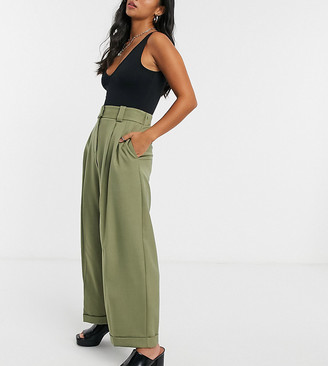 Topshop Petite elastic back wide-legged pants in khaki