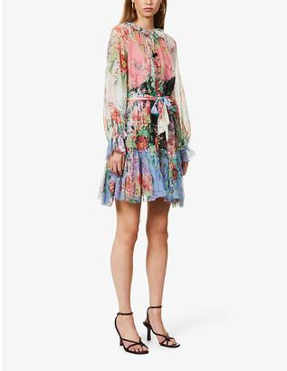 Zimmermann Floral-print silk-crepe mini dress