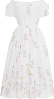 Thierry Colson Veronika Off-The-Shoulder Embroidered Cotton Midi Dress