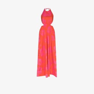 STAUD Apfel hibiscus print halterneck maxi dress