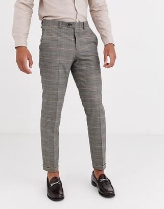 Jack and Jones slim fit prince of wales check suit pants in brown