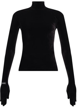 Richard Quinn Glove High-neck Velvet Top - Black