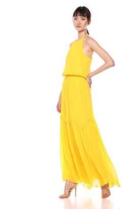 Halston Women's Sleeveless Round Neck Flowy Pleated Gown
