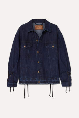 McQ Oversized Lace-up Distressed Denim Jacket - Dark denim