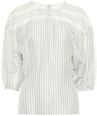 Chloé Lace-trimmed striped silk blouse