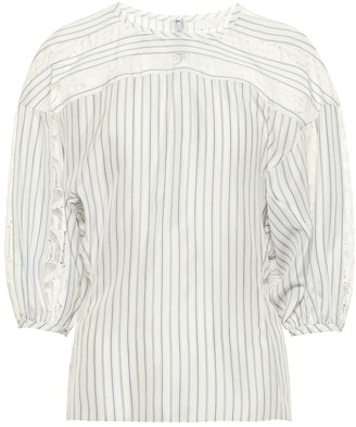 Chloé Lace-trimmed striped silk blouse