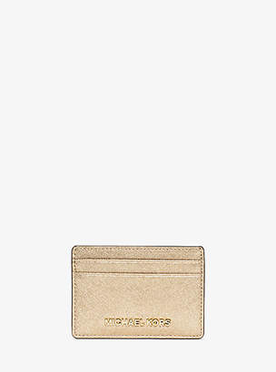 MICHAEL Michael Kors Travel Metallic Saffiano Leather Card Case