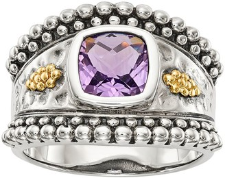 Sterling & 14K Bezel Cushion Gemstone Ring
