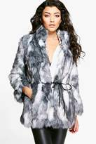 boohoo Boutique Emma Patchwork Faux Fur Coat With PU Belt