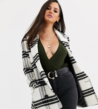 Asos DESIGN Petite double breasted check coat