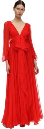 Alexander McQueen Maxi Round Silk Crepe Dress W/bow