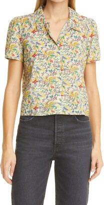 The Great The Everglade Floral Crop Button-Up Shirt