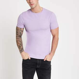 River Island Mens Purple muscle fit crew neck T-shirt