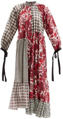Biyan Aworthia Asymmetric Patchworked Cotton Dress - Red Multi