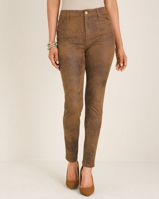 Chico's Faux-Suede Worn Luggage Slim Pants