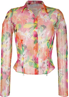 Christian Dior 2003 Sheer Floral Shirt