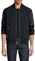 Karl Lagerfeld Leather Sleeve Varsity Bomber Jacket