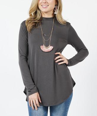 Ash Lydiane Women's Tunics  Gray Mock Neck Long-Sleeve Curved-Hem Top - Women & Plus