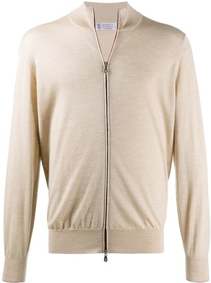 Brunello Cucinelli Contrast-Trimmed Zip-Up Cardigan
