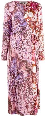 Diane von Furstenberg Marble Print Wrap Dress