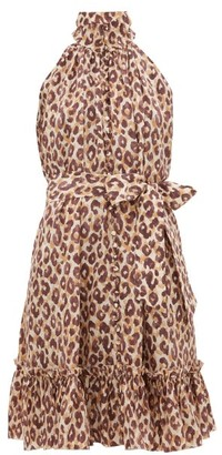 Zimmermann Leopard-print High-neck Silk Dress - Womens - Leopard