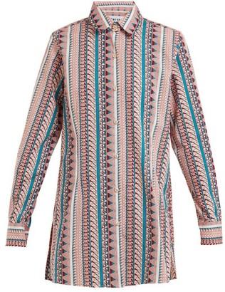 Thorsun Georgie Geometric-print Cotton Shirt - Womens - Pink Stripe