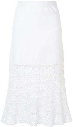 Jonathan Simkhai Kiana crochet-panel flared midi skirt