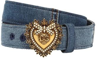 Dolce & Gabbana 3cm Denim Patchwork Devotion Belt