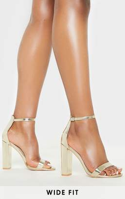 PrettyLittleThing Gold Wide Fit Block Heeled Sandals