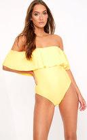 PrettyLittleThing Mia Yellow Bardot Frill Swimsuit